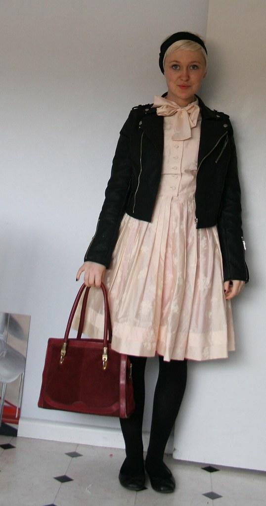 pink l'aiglon dress + biker