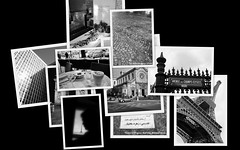 Postcard from Paris (From Afghanistan With Loveّ) Tags: world city travel bw paris france building collage architecture self de october champs triomphe eiffel postcards napoleon montparnasse elysees 2009 vignettes bakhtiar beauvoir zeerak safrang hamesha javaid chapour sarctre