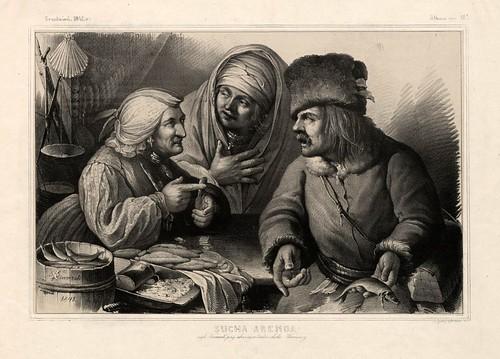 012-Venta de pescado seco-Varsovia 1841-Album de dibujos de Varsovia- Piwarski