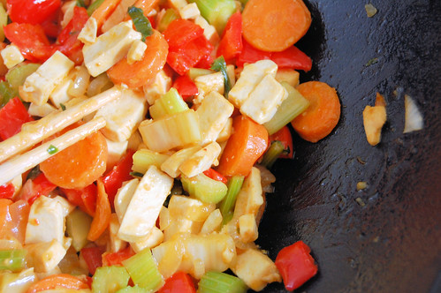 wok-sauteed tofu and vegetables.