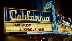 California Capitalism - Capitalism: A Love Story & A Serious Man - California Theater in Berkeley (Steve Rhodes) Tags: california ca blue cinema night marquee evening berkeley words october theater neon oct cal neonsign capitalism 2009 movietheater californiatheater theatermarquee october09 landmarktheaters october2009 californiacinema aseriousman capitalismalovestory caltheater californiacapitalism