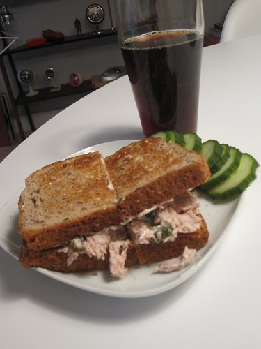 Tuna sandwich and cucumber slices