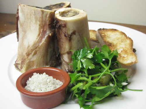 Roasted Beef Bone Marrow with Toast and Parsley Salad