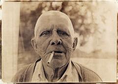 Grandad (batuda) Tags: portrait watercolor tea d76 om ilford cyanotype digitalnegative 5018 altprocess pan100 lasertransparency