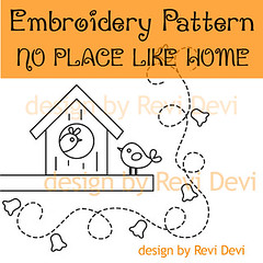 No Place Like Home (revi1001) Tags: cute bird nature illustration birdie design peacock kawaii etsy whimsical embroiderypattern