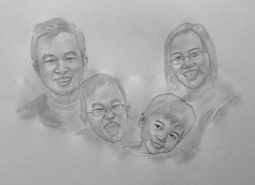 my family portraits in black & white watercolour - 1