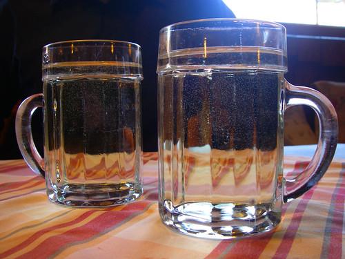 mugs of heurigen at Weiniger