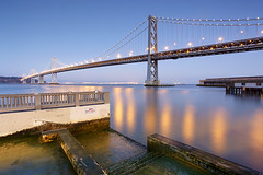 Bridge to Yerba Buena, San Francisco Bay Bridge, California (PatrickSmithPhotography) Tags: sanfrancisco california travel bridge sunset vacation seascape water landscape bay suspension baybridge embarcadero yerbabuenaisland