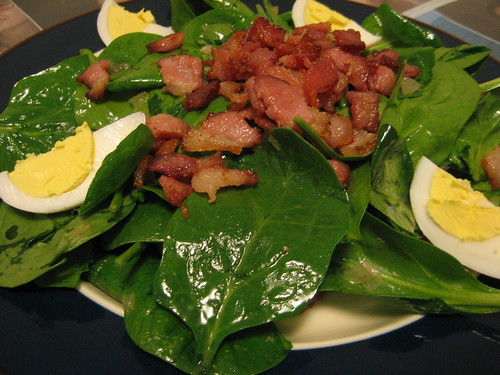 WILTED SPINACH SALAD WITH BACON