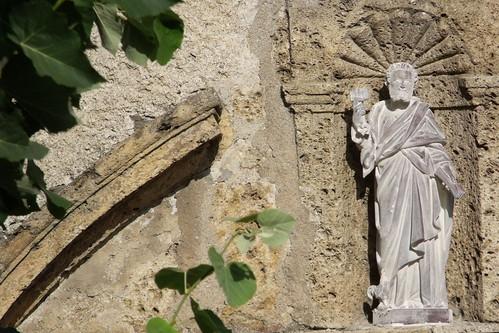 Villard-sur-Doron, fronton avec niche St Pierre © D.Dereani, Fondation Facim
