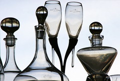 stoppered (jenny downing) Tags: light two blackandwhite bw distortion france reflection glass silhouette glasses stem globe bright crystal pair curves explore sphere refraction delicate curved decanter flutes glassware decanters stemware moëtchandon stoppers infrance 1743 moët explored stoppered leadcrystal jennypics takeninfrance monotonal jennydowning fondéen1743 photobyjennydowning ©jennydowning2009