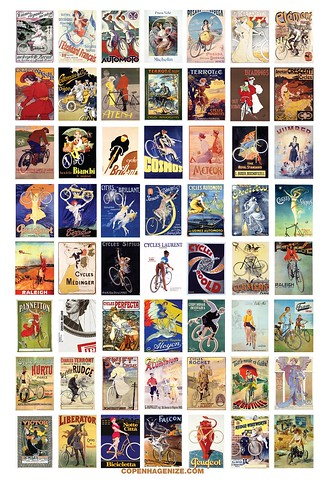 Vintage Bicycle Posters Poster