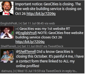 Geocities Closes Tweets