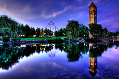Riverfront Reflection (Surrealize) Tags: park pink blue sunset sky orange reflection tree tower clock water glass grass clouds river lights washington nikon rocks colorful spokane neon purple expo dusk calm willow pavilion hdr riverfrontpark spokaneriver d700 jasonhoover 1974worldsfair surrealize 1909looffcarrouselcentennialcelebration