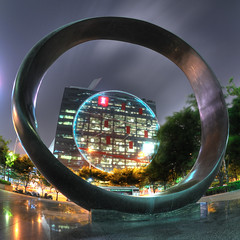 Rings (christian.senger) Tags: city travel light urban architecture night digital geotagged nikon asia outdoor frombelow korea ring fisheye explore seoul frontpage hdr frogperspective d300 photomatix nikoncapturenx2 christiansenger:year=2009