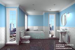 Bathroom 3d Rendering (Cenk Kara - Designer) Tags: uk blue white reflection glass architecture kara studio ceramic bathroom design photo 3d italian bath ray sink m