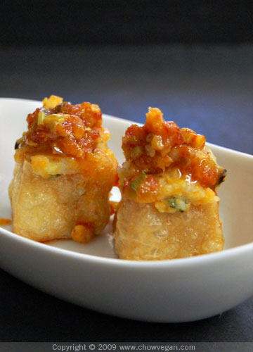 Stuffed Tofu Puffs With Chili Garlic Sauce