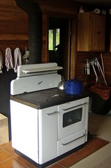 Woodstove inside new cabin