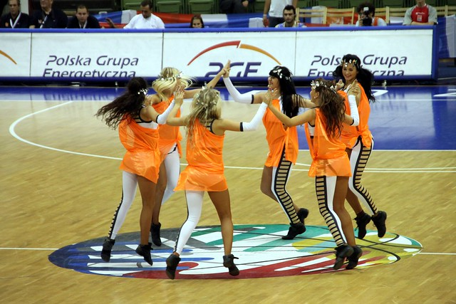 Cheerleaders dancing syrtaki