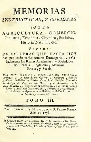 001a--Memorias instructivas, y curiosas sobre agricultura, comercio, industria.. Tomo III