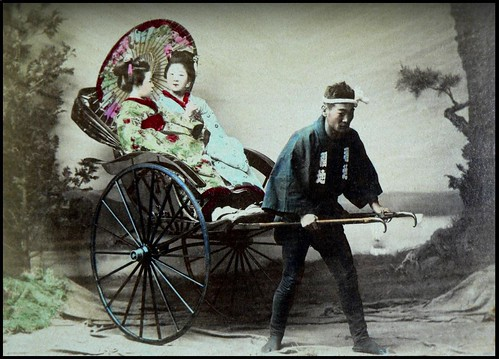 TWO GEISHA IN A 'RICKSHAW --- A Hurried Print from T. ENAMI'S Studio in Old 1890s JAPAN