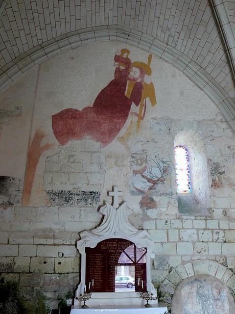 saint christopher, wall painting, fresco, lye, loir-et-cher, france