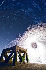Star Trails: Spinning in Infinity (AndWhyNot) Tags: wool night circle star wire long exposure infinity spin trails andrew stack spinning whyte pyrotechnic eastney andwhynot 49865073 87x30
