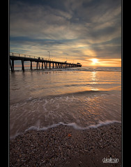 Seashells and Sunsets (Dale Allman) Tags: ocean sunset sun seascape reflection beach water clouds seashells canon sand waves jetty australia wideangle explore adelaide southaustralia 1740 henleybeach henleybeachjetty henleyjetty canon5dmkii 5dmkii