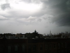 Gloomy skies with rain over Manhattan. (yankeesmann1918) Tags: nyc skyline thunderstorm cumulonimbus