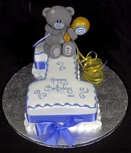 Figure One Birthday Cake with Handmade Sugarepaste Me 2 You Bear
