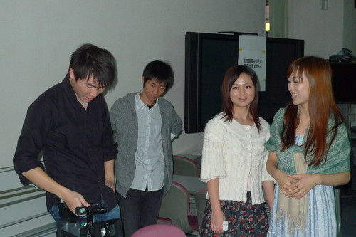 Kong, Yang Yang, Ko-san, Zhu Dan on the set of Stardust Memories