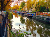 Regent's canal at autumn (Che-burashka) Tags: autumn urban reflection london fall water river painting boats boat canal walk postcard seasonal regentscanal painter leisure littlevenice waterway yellowleaves londonist lx3