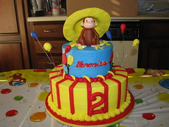 Veronica's Curious George cake (hjshewmaker) Tags: birthdaycake monkeycake curiousgeorgecake childrensbirthdaycake fondantfigures