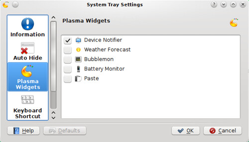 Plasma Widgets in System Tray