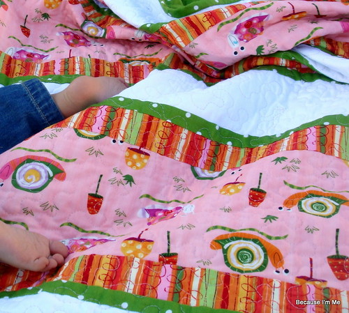pink orange green quilt front and baby feet :)