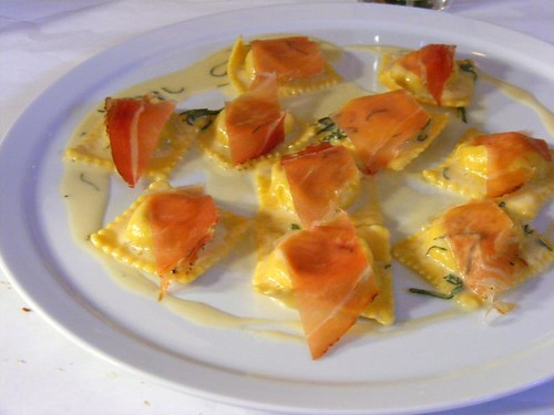 ravioli topped with prosciutto
