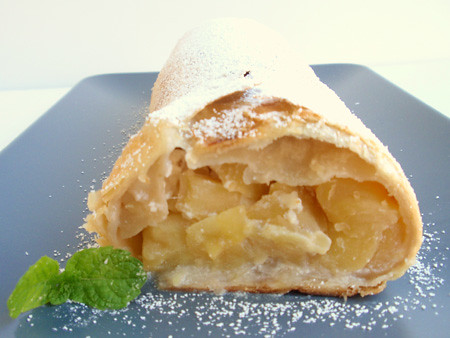 Apple and goat cheese strudel