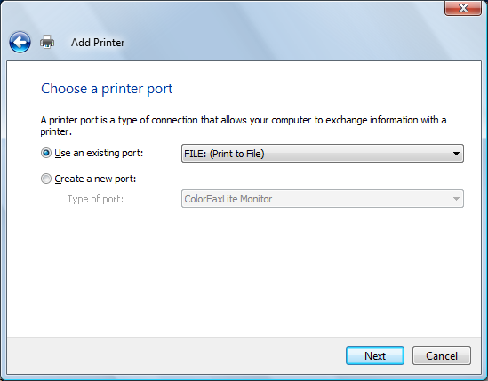 Choose a printer port