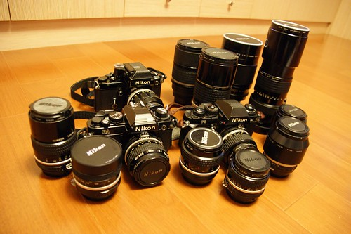 what grand father left: 3 Nikon cameras and 13 lenses