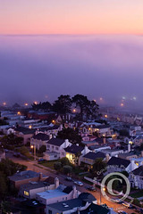 Foggy Urban Landscape, San Francisco (jimgoldstein) Tags: sanfrancisco california pink homes sunset sky urban cloud tree weather fog landscape lights cityscape purple cloudy dusk foggy suburbia neighborhood suburb urbanlandscape jimmgoldstein jmggalleriescom canon1dsmarkiii