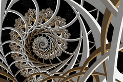 Space Lattice (Ross Hilbert) Tags: art metal spiral chaos julia space digitalart galaxy computerart fractal lattice mandelbrot generativeart juliaset mathart fractalart algorithmicart mandelbrotset orbittrap fractalsciencekit