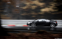 R8. (Denniske) Tags: november autumn motion black rain speed canon germany dark photography eos is movement track noir action 04 4th automotive 11 spray 09 l mm dennis audi panning circuit zwart 70200 2009 nero 42 f28 ef schwarz v8 trackday quattro r8 fsi on rma nordschleife noten nurburgring lseries llens trackdays 40d denniske dennisnotencom