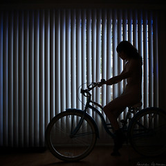 346/365 December 12, 2009 (laurenlemon) Tags: ca winter girl lines bike alone christmaslights blinds 365 sillhouette 365days december09 canoneos5dmarkii laurenrandolph laurenlemon myfeetwerecold