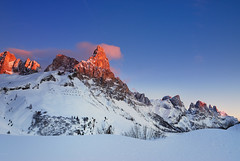 Pale di San Martino (diomede2008) Tags: sunset sky italy mountain snow mountains nature landscape nikon europe stones dolomiti nikond200 enrosadira concordians flickrestrellas platinumpeaceaward diomede2008