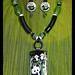 """BEARS REPEATING"" fused glass pendant /earring set by Sandra Miller"