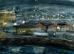 Norway, night harbor