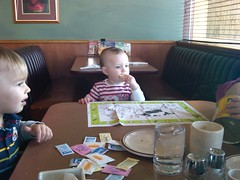 Liesl Having Breakfast at Dennys