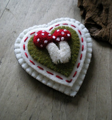 lovey love love (lilfishstudios) Tags: red white wool heart recycled handmade sewing brooch craft felt stitching mossgreen lilfishstudios