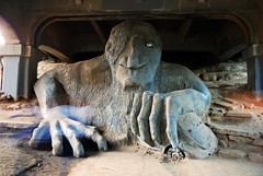 Fremont Troll, Seattle (WorldofArun) Tags: seattle bridge sculpture art statue volkswagen concrete washington wire nikon traffic queenanne parking suicide beetle competition fremont neighborhood explore artists freeway winner lakeunion publicart drugdealer aurorabridge hubcap 1990 fremonttroll trauma soapboxderby volkswagenbeetle cantilever truss casestudy suicidebridge 18200mm thetroll nationalregisterofhistoricplaces rehabilitate californialicenseplate fremontartscouncil georgewashingtonmemorialbridge nrhp wsdot washingtonstatedepartmentoftransportation cityofseattle trollavenue threebillygoatsgruff steelrebar d40x stateroute99 fremontcut colossalstatue worldofarun scandinavianfolktale suicidejumpers prehospitalcare thetrollunderthebridge arunyenumula traumavictim