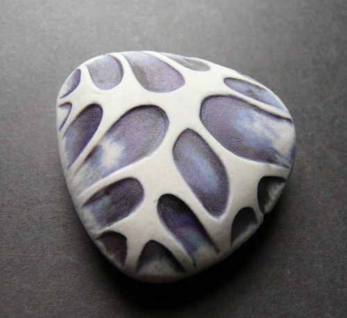 Porcelain Bead - Handbuilt, handcarved, hollow form